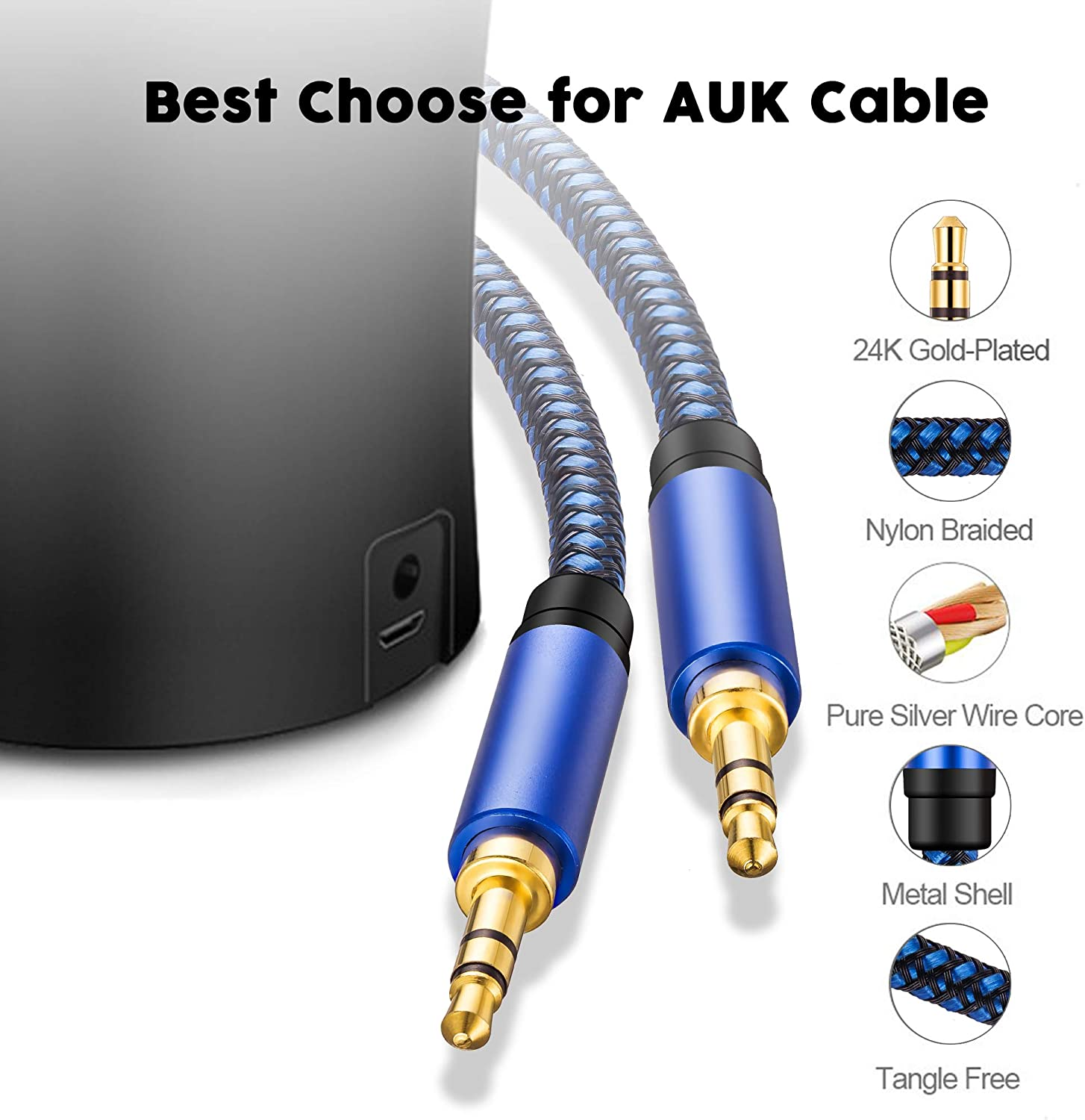 Home Car Stereo System and More iPhone Smartphone Uperatre 3.5mm Audio Cable Professional HiFi Male to Male Braided Stereo Aux Cord Wire for Headphones Audio Cable 10ft iPod Speaker iPad