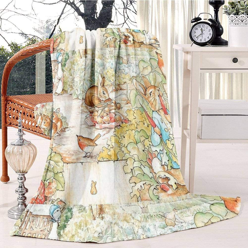 The World of Beatrix Potter Large Vintage Illustration Fleece Blanket Soft Plush Throw TV Blanket Bedding Flannel Throw Shawls and Wraps Lightweight for Bed Couch Chair Travel, 51