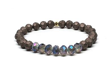 Rainbow Natural Stone : Black obsidian rainbow eye beads ball natural stone crystal