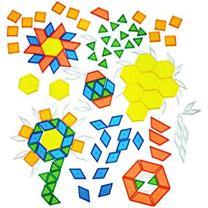 Constructive Playthings Toys Translucent Pattern Blocks, Set of 147 Pieces, Various Shapes and Colors