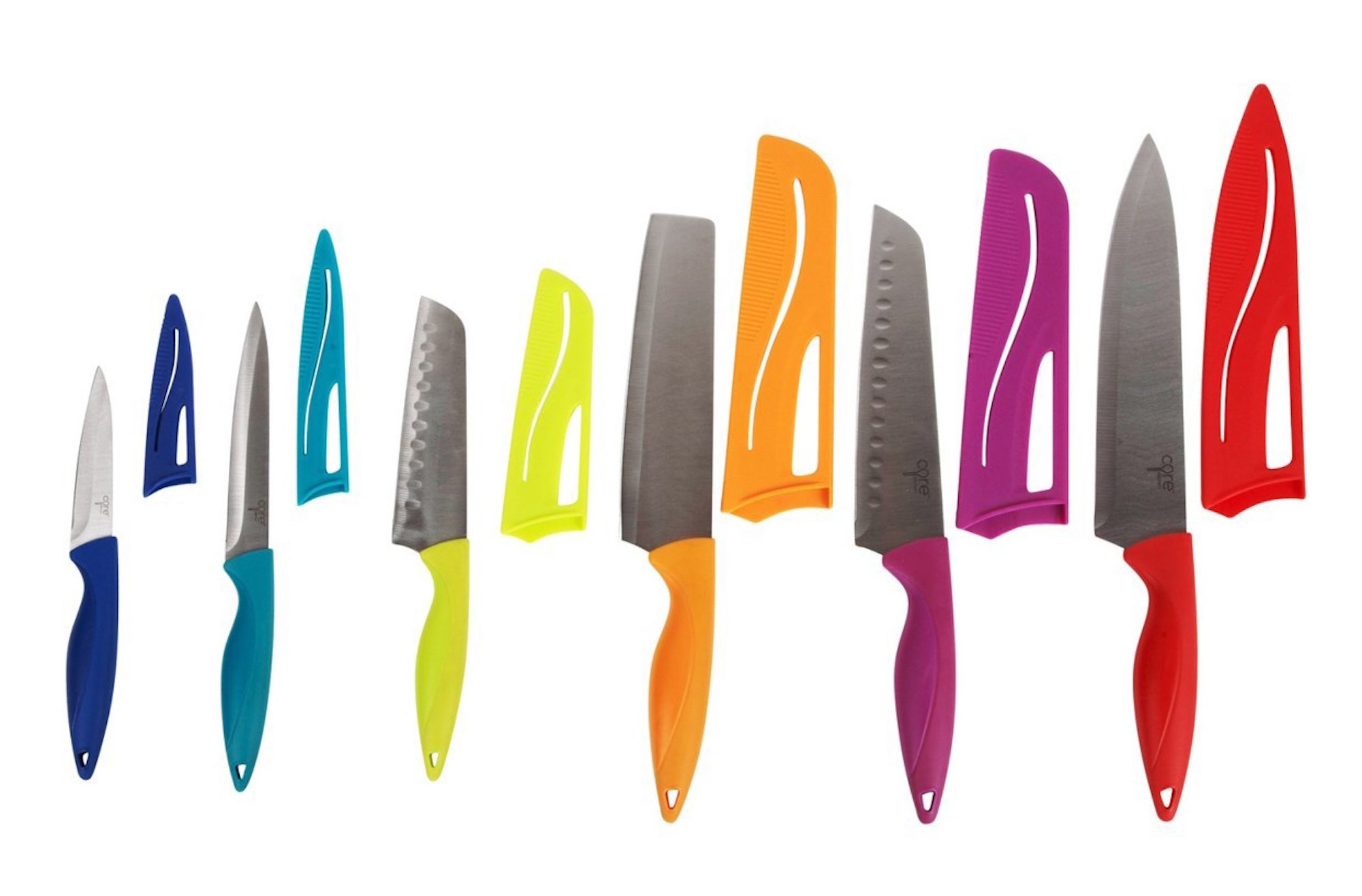 Core Home 6 Knives with Sheaths, Chef/Nakiri/Santoku/Utility/Paring
