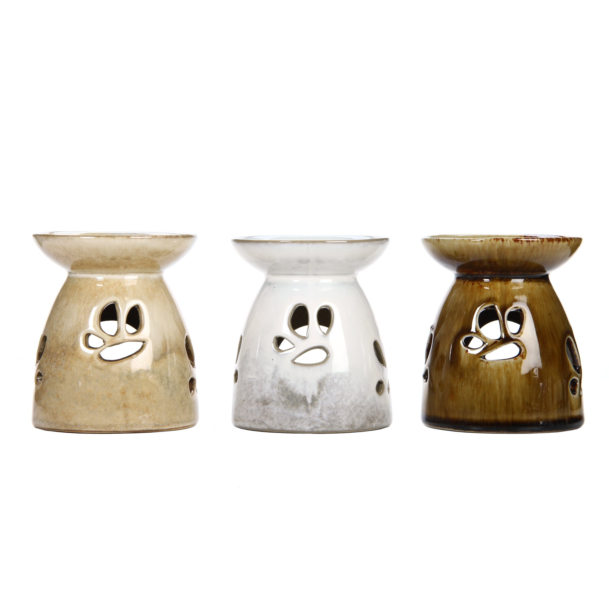 Hosley Set of 3 Assorted Ceramic Oil Warmers - 4.3'' High. Antique Brown, Cream and White. Ideal for Spa and Aromatherapy. Use Brand Essential Oils and Fragrance Oils. O6