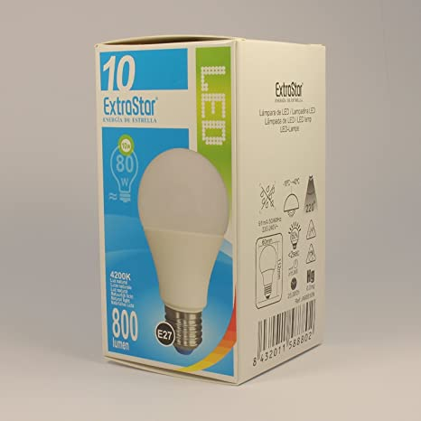 [6 Pack] Bombilla LED E27, 10 W a 80 W, 800 lúmenes