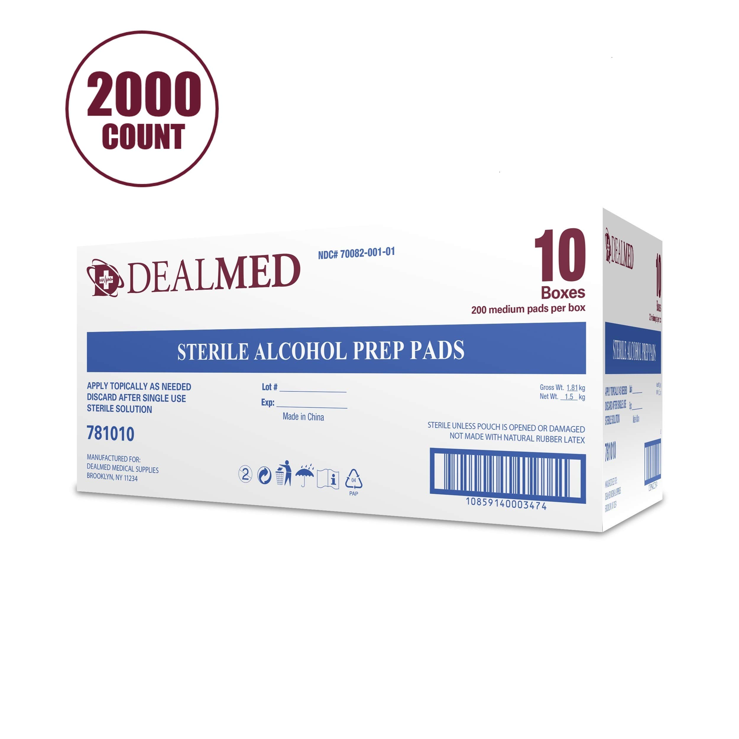 Dealmed Sterile Alcohol Prep Pads, Antiseptic Latex-Free Wipes, Gamma Sterilized, 2000 Count by Dealmed