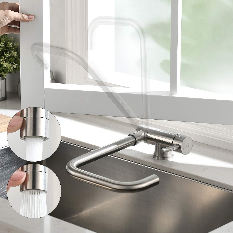 CECIPA 360° Grifo de cocina para fregadero,Grifos montados en ventanas,Grifo de Fregadero Plegable de Acero Inoxidable 304,Con dos tipos de descarga de agua