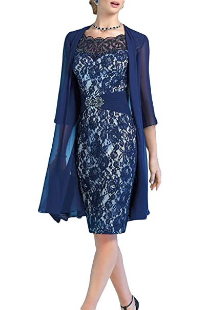 26cae6dc60 Newdeve Navy Blue Mother Of The Bride Dresses For Women Short Lace Evening  Gown (US2