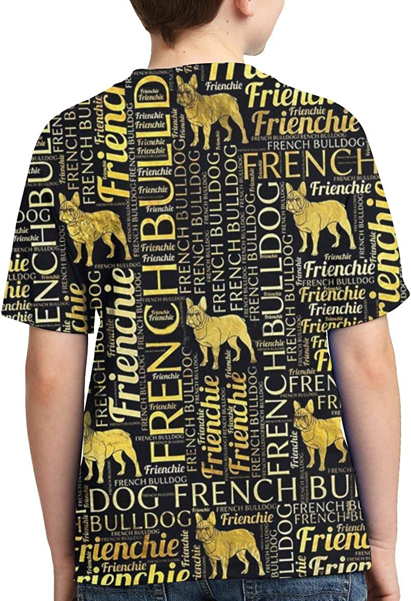 Boys Short Sleeve French Bulldog Silhouette Quotes 3D Print T-Shirts Graphic Tees for Kids Teens