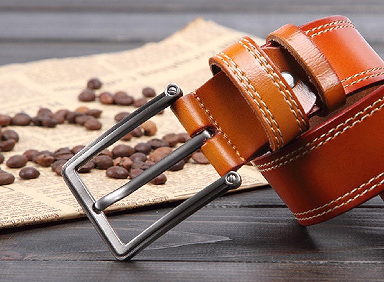 E-Clover Vintage Mens 37mm Double Stitch Leather Bridle Belt