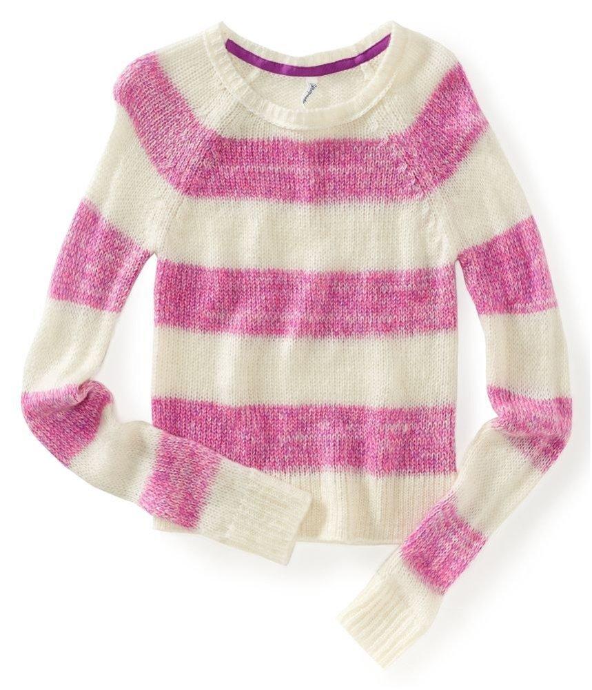 Aeropostale Womens Ls Raglan Stripe Knit Sweater Pink M - Juniors