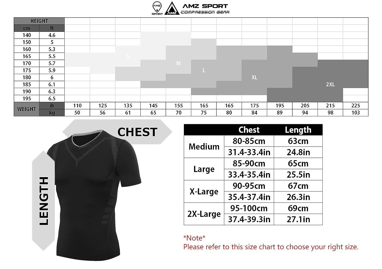 AMZSPORT Maglia a Manica Corta Compression da Uomo Sport Baselayer Asciugatura Rapida T-Shirt
