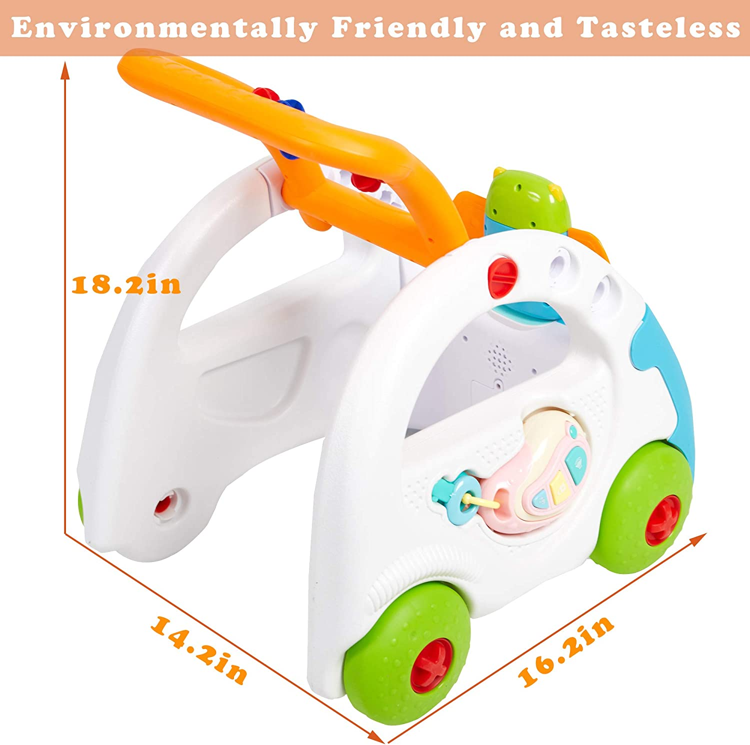 Blue COLOR TREE Baby Learning Walker Push Car Sit to Stand Activity Walker with Music and Lights for Kids
