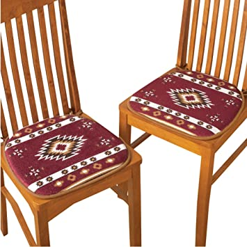 Southwest Aztec Native American Padded Chair Cushion Pads   Set Of 2