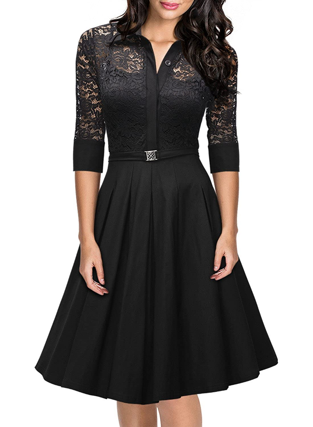 Missmay Women's Vintage 1950s Style 3/4 Sleeve Black Lace Flare A ...