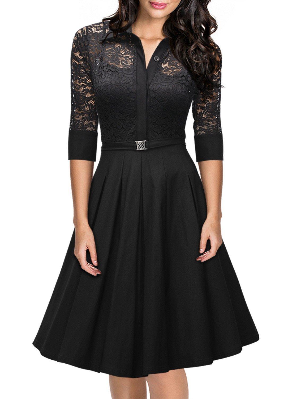 Missmay Women's Vintage 1950s Style 3/4 Sleeve Black Lace Flare A-line Dress (XXL)