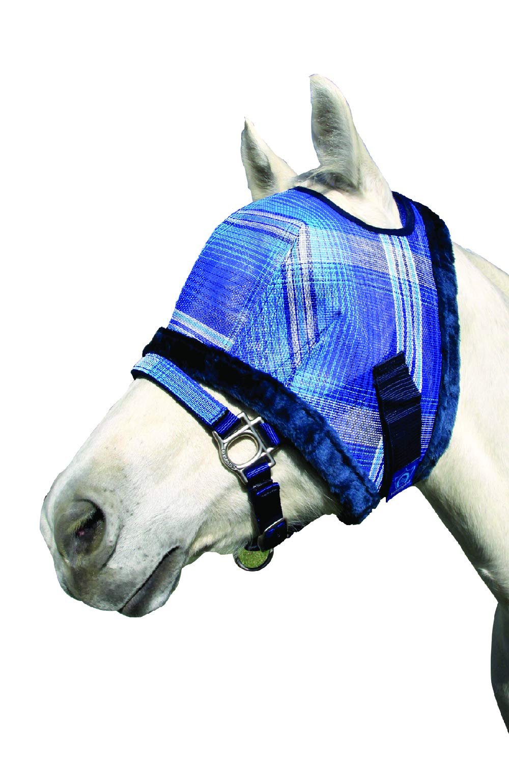 Kensington Fly Mask Fleece Trim for Horses - Protects Face, Eyes from Flies, UV Rays While Allowing Full Visibility - Breathable Non Heat Transferring, Perfect Year Round, (Small Mini, Kentucky Blue) by Kensington Protective Products