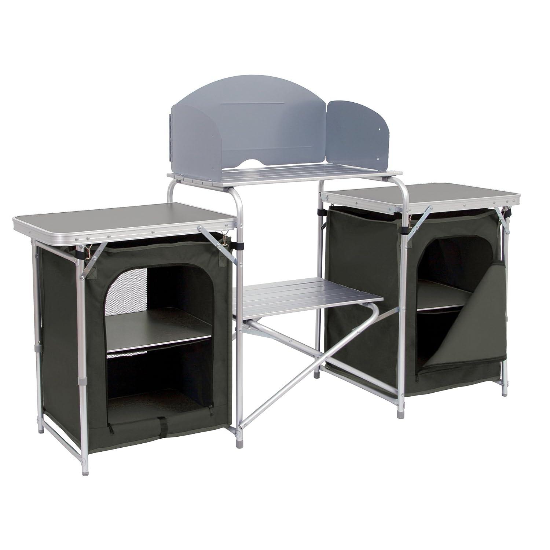 CampFeuer Campingschrank, Aluminium Campingküche, (B) 171 x (H) 111 x (T) 48 cm, Faltschrank mit Spritzschutz, Vielen Ablagen und Staufächer, inkl. praktischer Tragetasche