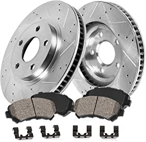 Callahan CDS03301 FRONT 330mm Drilled & Slotted 5 Lug [2] Rotors + Ceramic Brake Pads + Clips