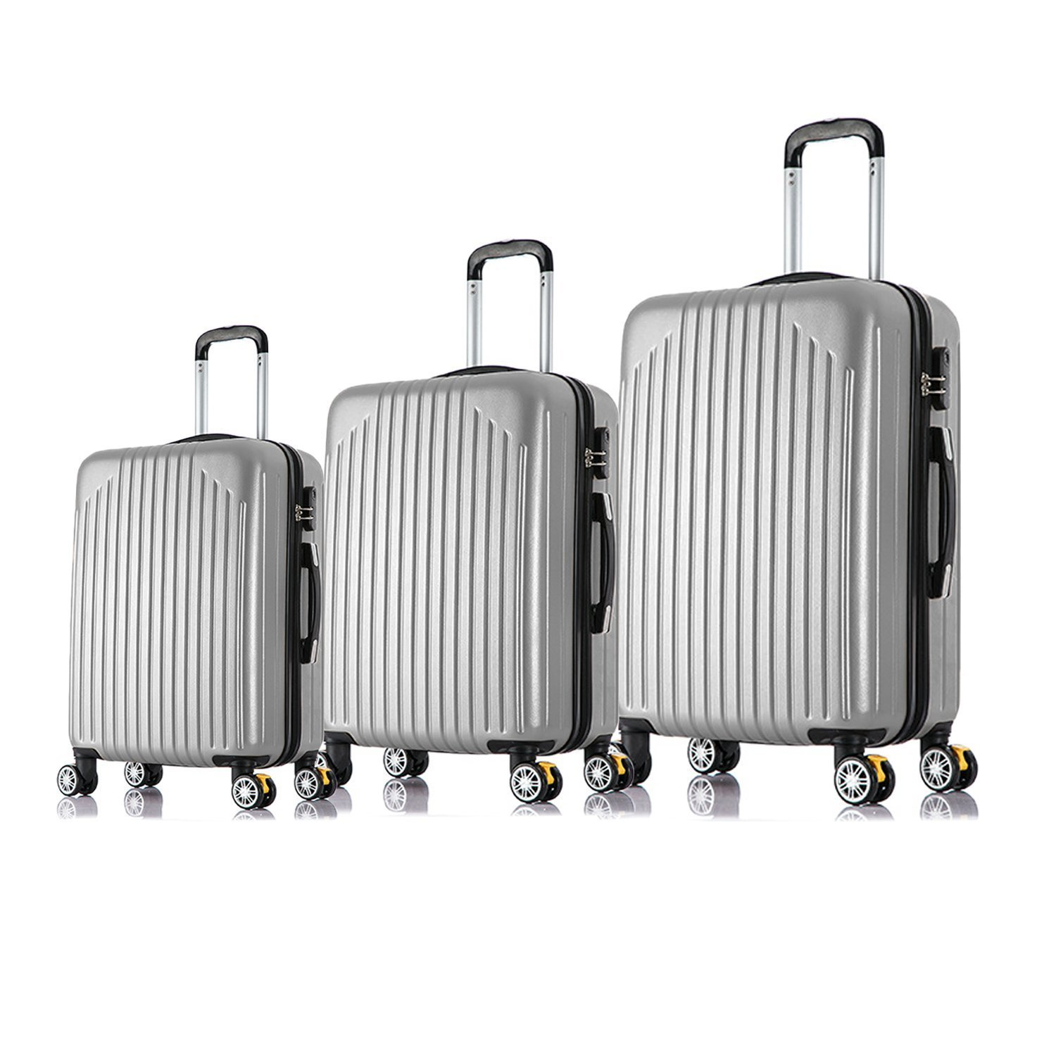 Magshion Unisex-Adult Carry On Luggage Travel Bag, Spinner Suitcase, Silver, 3 Piece