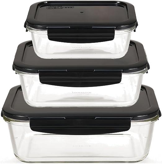 Lock & Lock Oven Glass Juego de 3 recipientes herméticos de Vidrio ...
