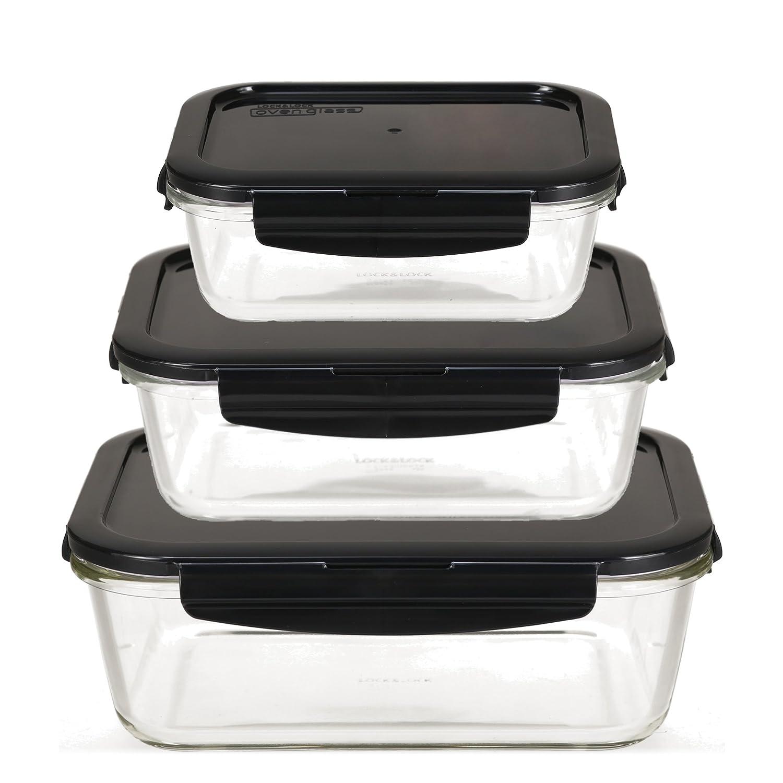 LOCK & LOCK Frischhaltedosen aus Glas mit Deckel, 3er Set eckig & groß - OVEN GLASS - Kühlschrank & Einfrieren - Auflaufform Backofen & Mikrowelle LLG455AS3