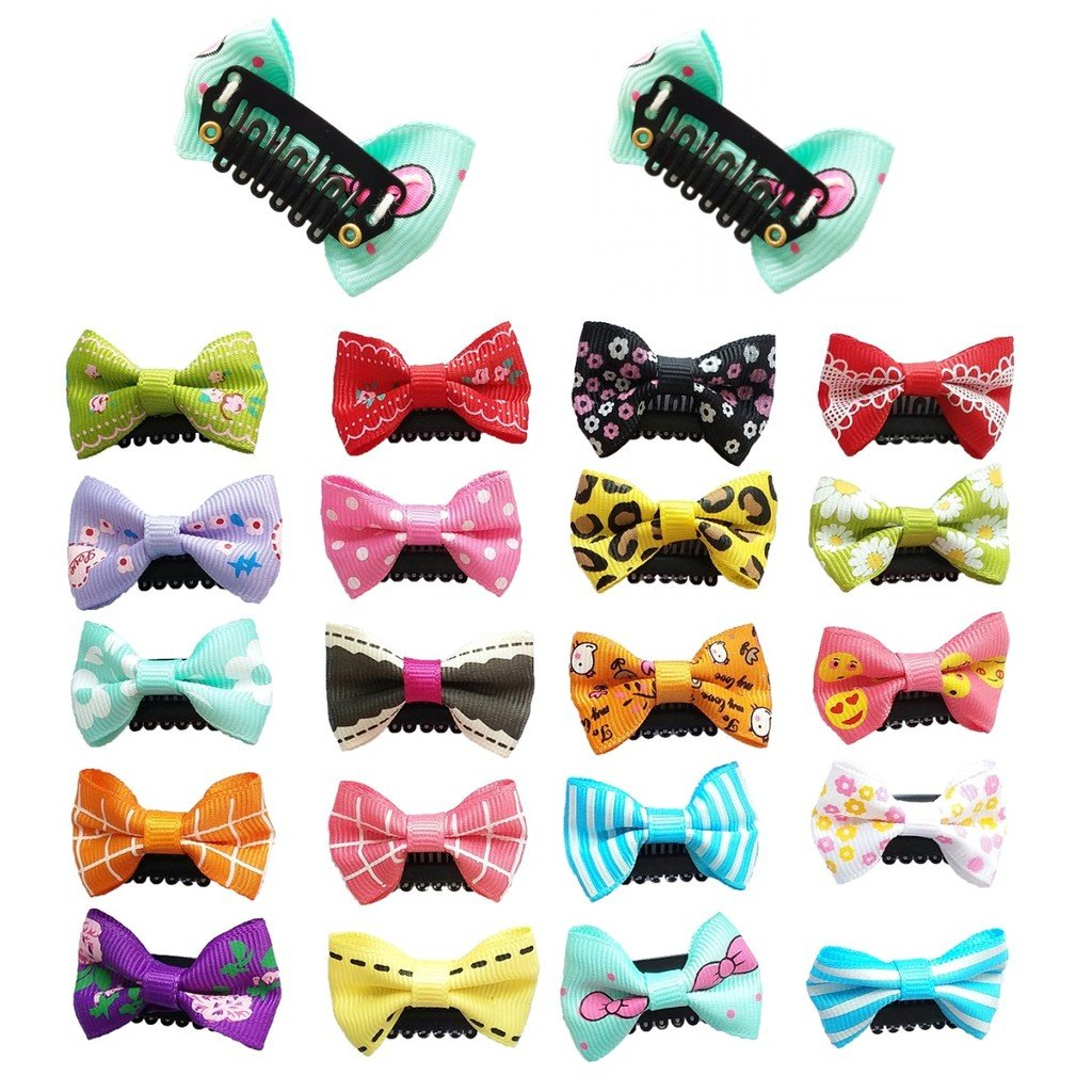 PET SHOW Small Pet Dogs Cats Hair Bows with Clips Dog Hair clips for Short Hair Pets Topknot Hair Accessories Assorted Colors Styles Pack of 10pairs