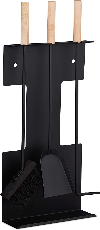 Relaxdays Set Moderno de Accesorios para Chimenea Negro Atizador /& Soporte Pala Cepillo