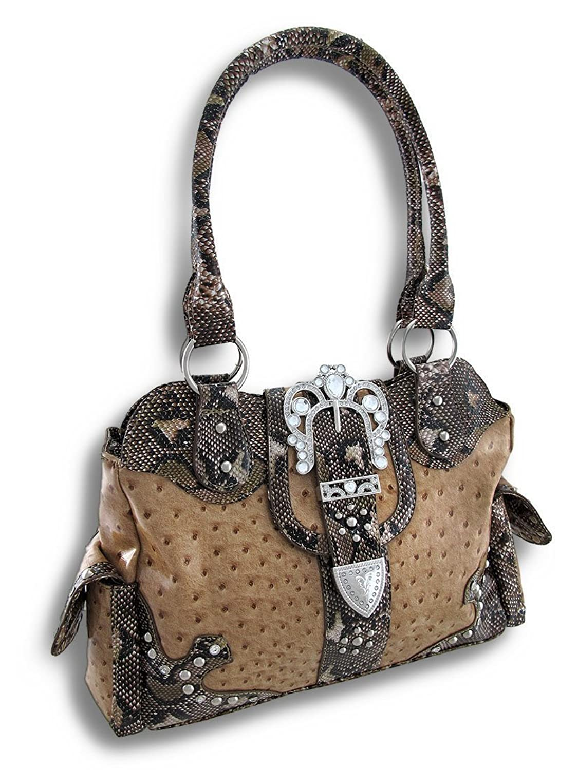 Ostrich Print Purse With Rhinestone Buckle Mock Python Trim