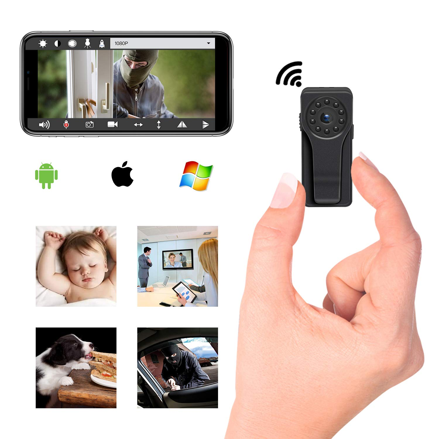 Mini Hidden Spy Camera, Ruidla WiFi Camera Body Camera Night Vision Motion Detection 1080P HD Security Monitoring Nanny Cam For Baby Home, 170 Degree Wide View Angle, Fit for Indoor & Outdoor