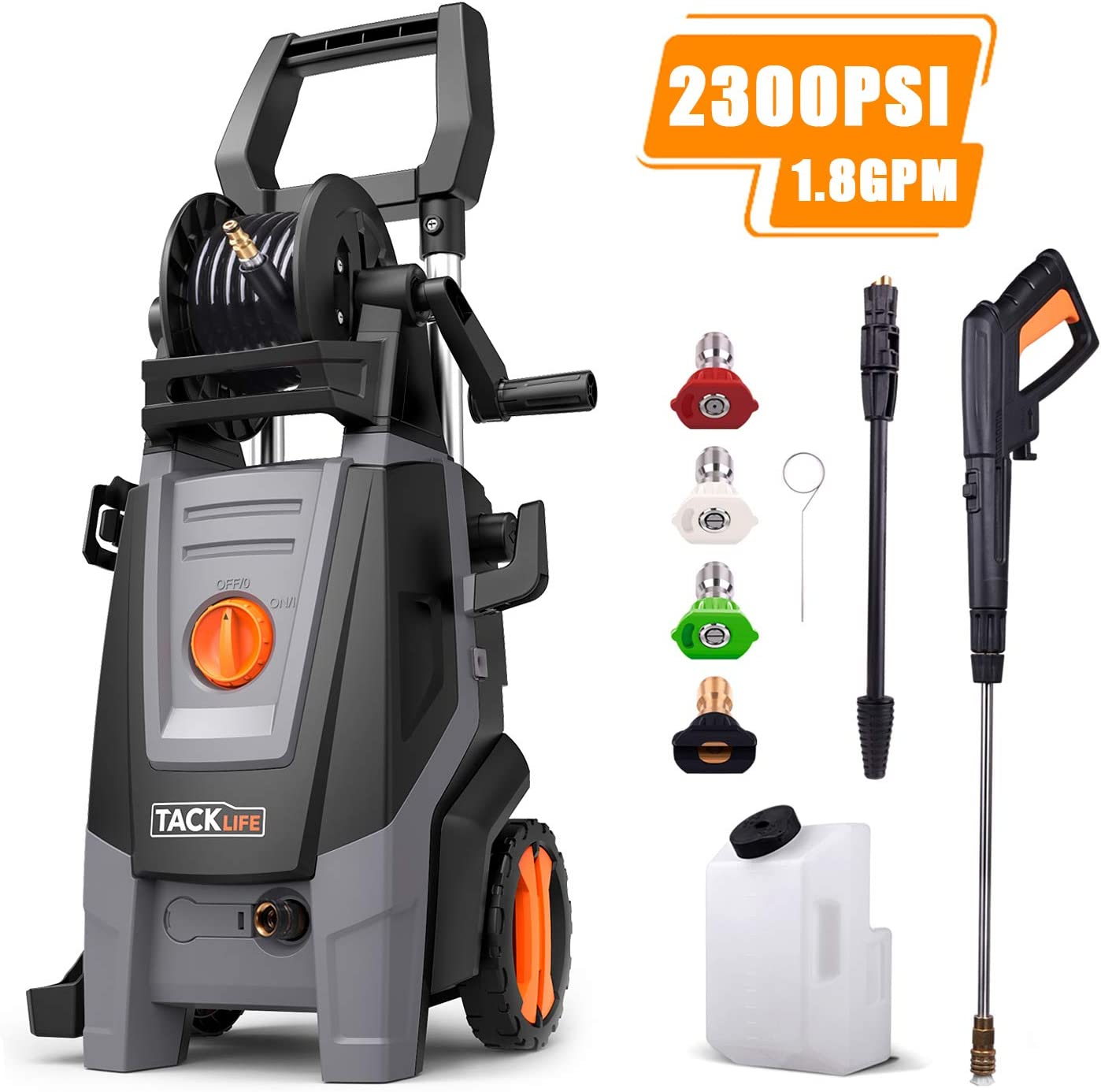 TACKLIFE 2300 PSI Electric Pressure Washer 1.8 GPM with Detergent Tank, 4 Nozzles and Automatic Stop Function, 360 Easy to Remove Dirt, Great for Cleaning Car, Yard, Garden, Barbecue