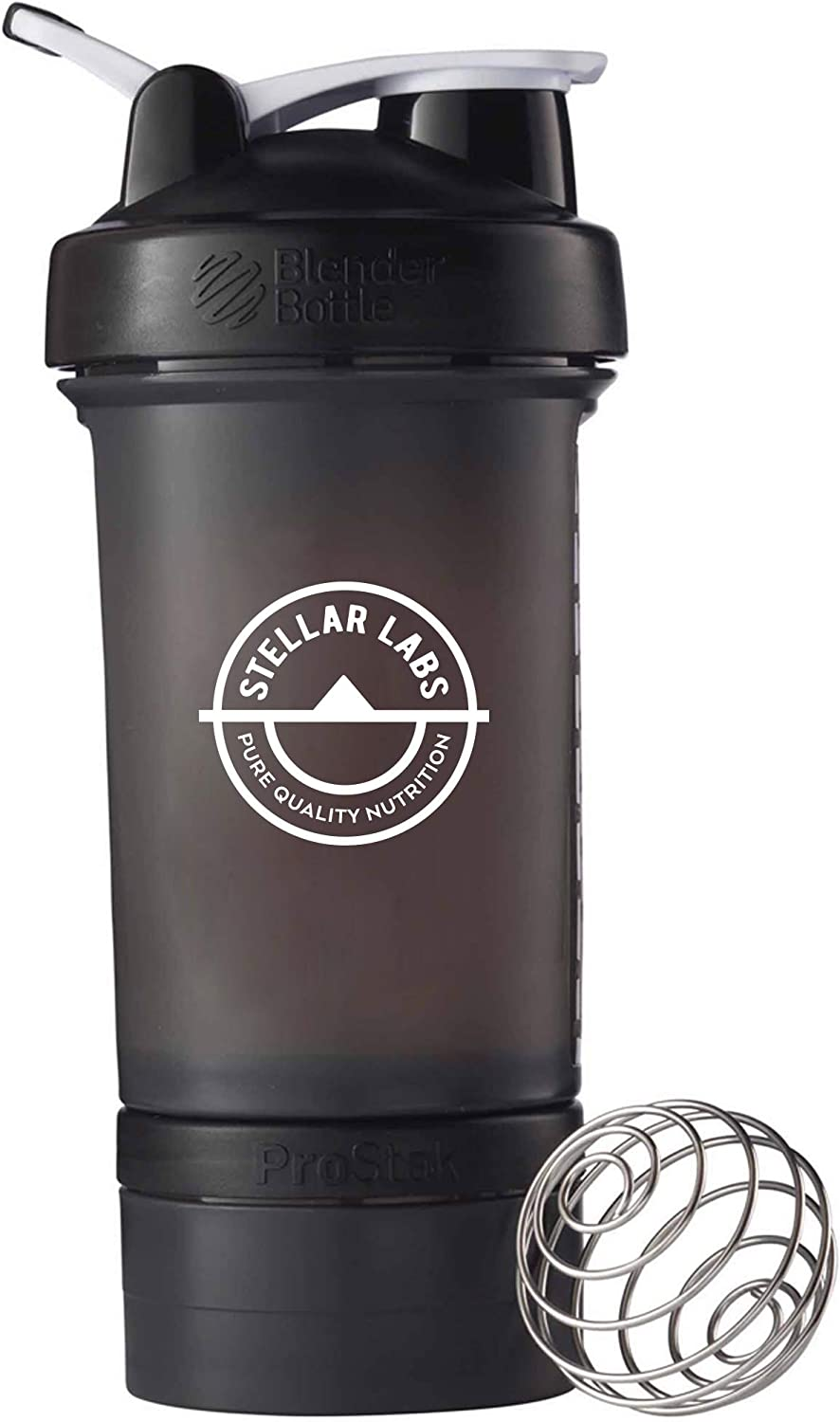 Stellar Labs 32-Ounce Leak Proof Wire Whisk Blender Bottle with On-The-Go Snack Compartment and Wire Whisk