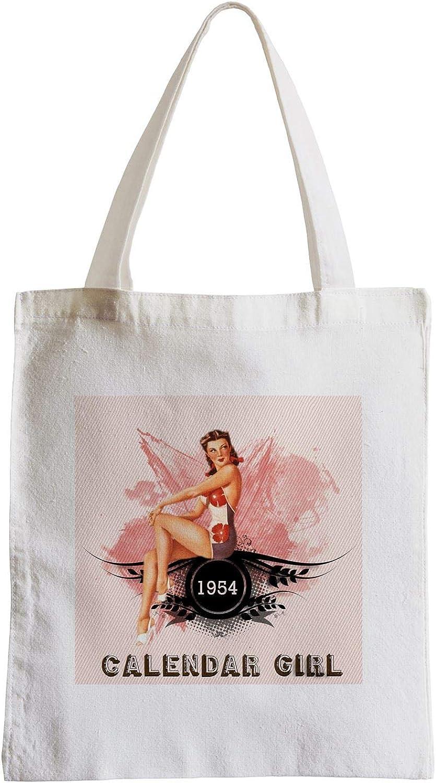 Grand Sac Shopping Plage Etudiant Pin Up 1954 sur Fond Rose Calendar Girl