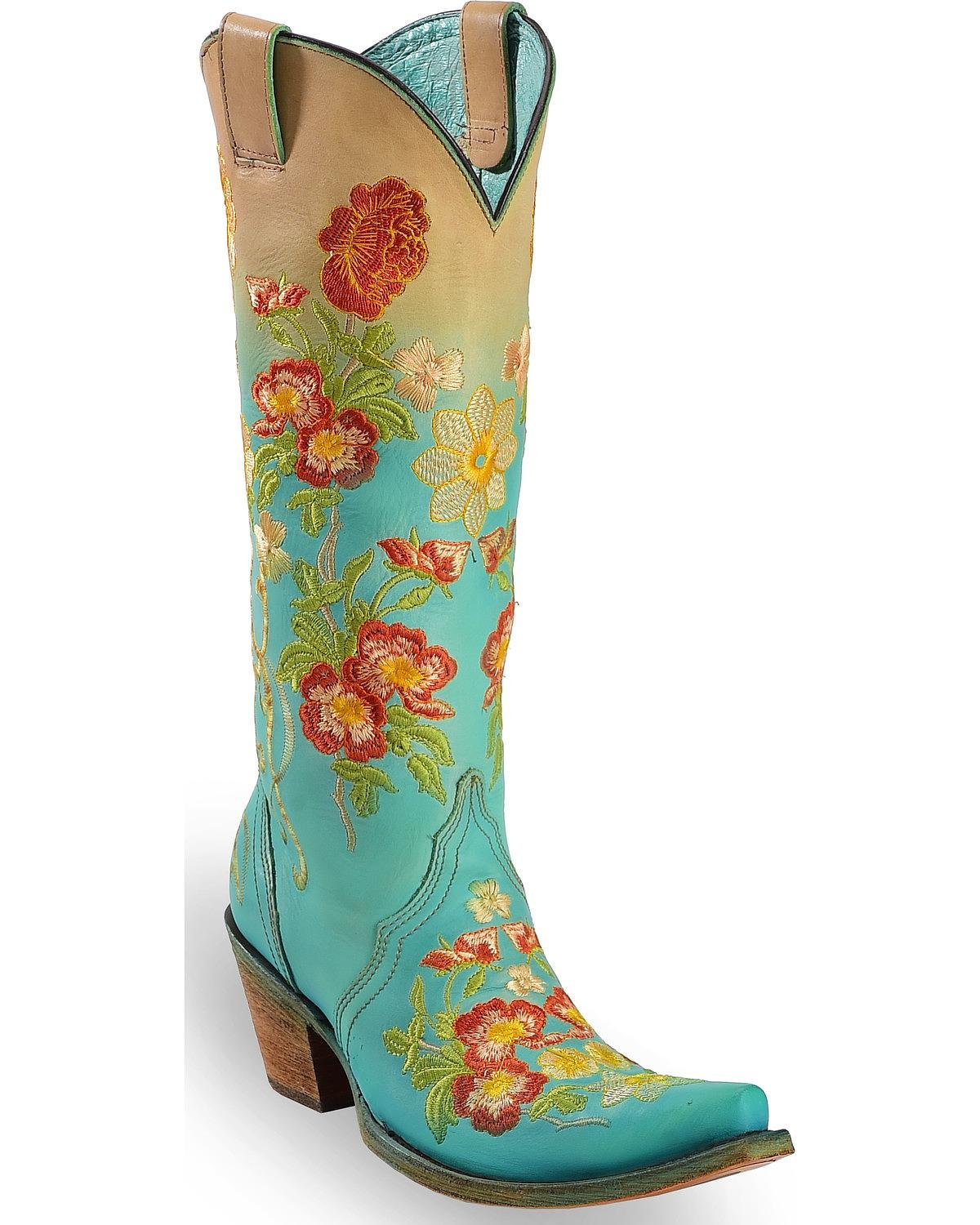 Corral Women's Turquoise Orange Floral Embroidered Boot Snip Toe Turquoise 9.5 M by CORRAL