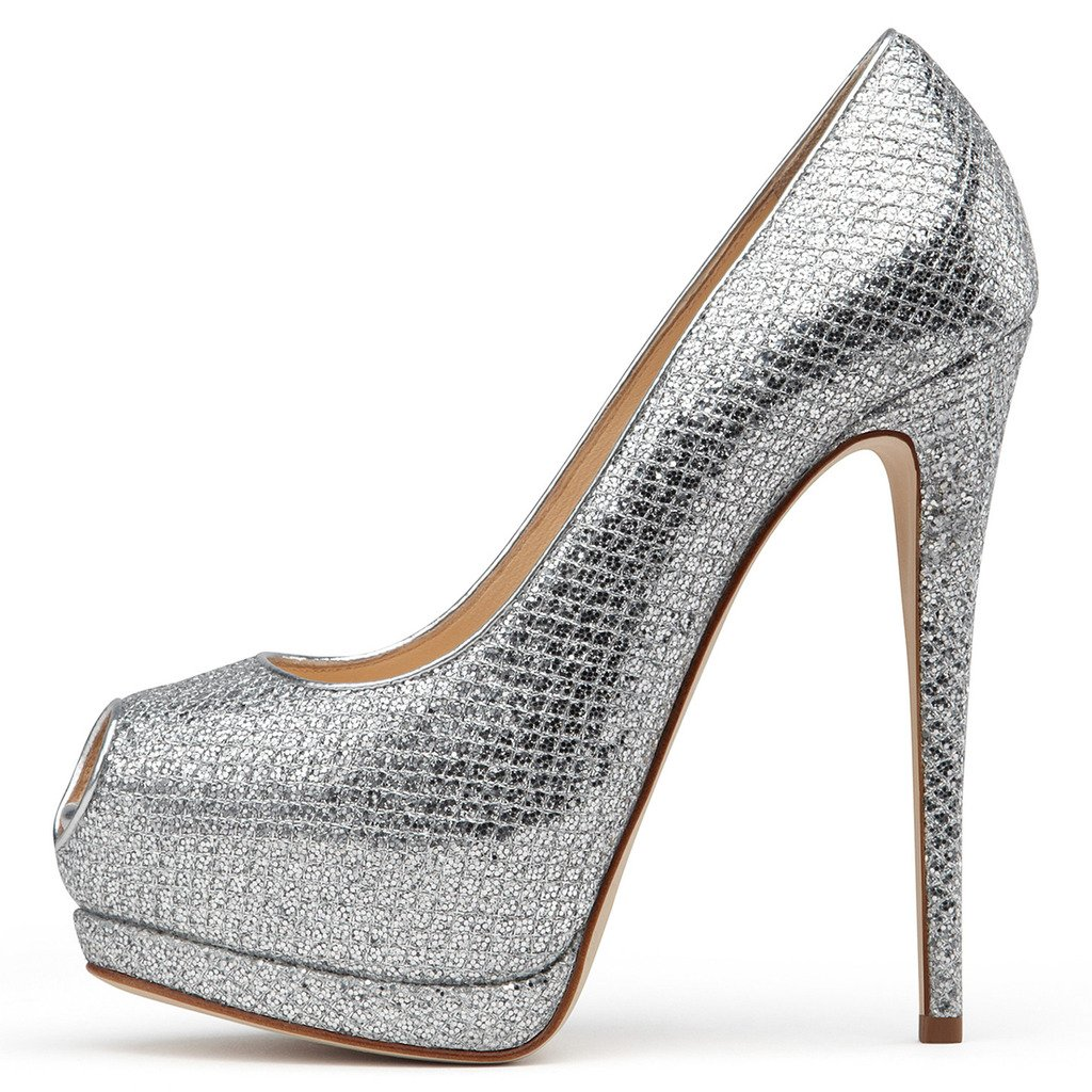 Amy Q Tinuo pio de la plataforma de tacon alto de las mujeres Bombas de encargo para la boda vestido de fiesta de deslizamiento en los zapatos 46|Blateado