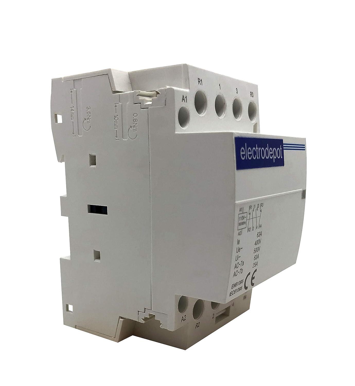 25 Amp 2 polos del Contactor ac 5.4 kW normalmente abierto montaje en carril DIN iluminación de calefacción