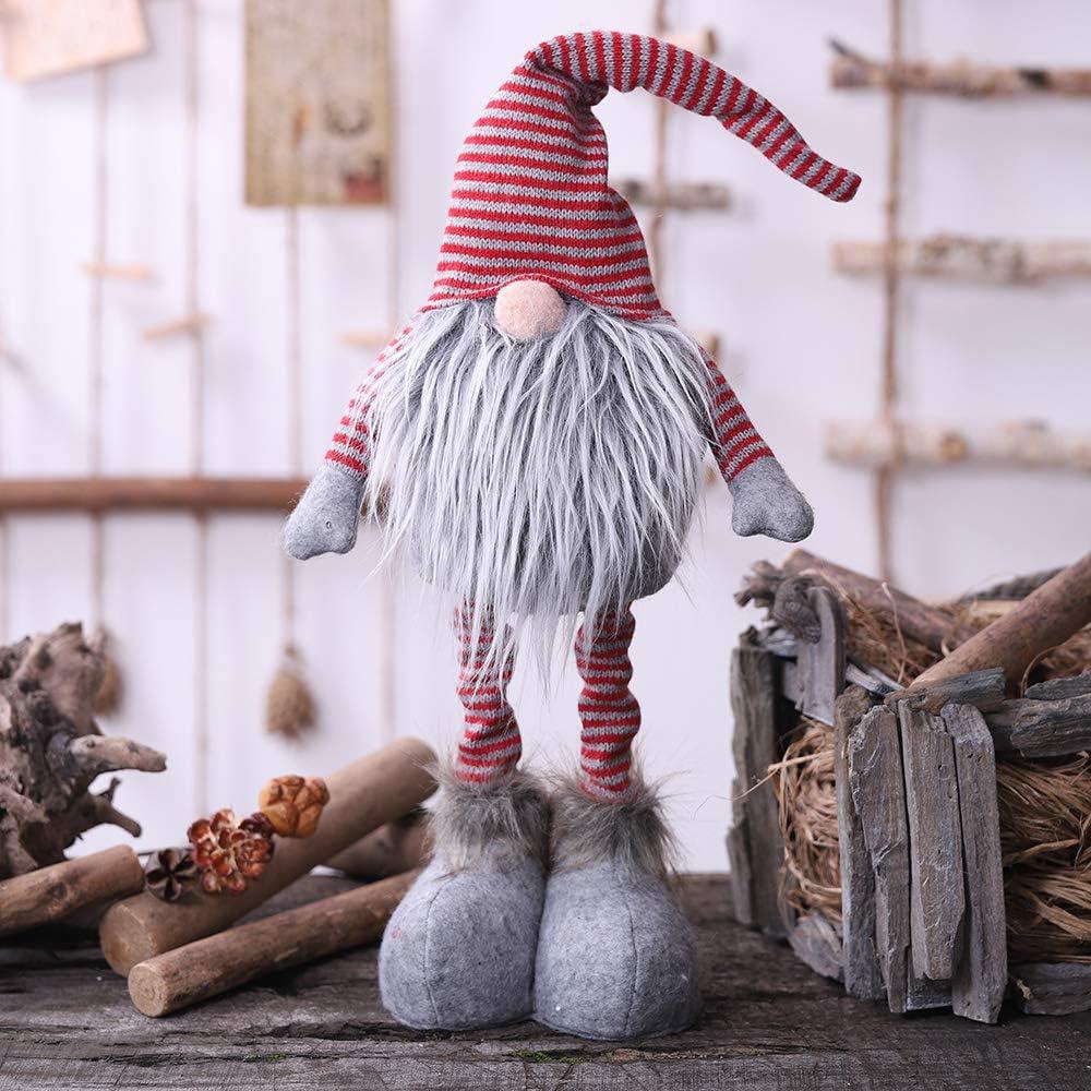 Oternal Handmade Swedish Gnome, Scandinavian Tomte, Yule Santa Nisse, Nordic Figurine, Plush Elf Toy, Home Decor, Winter Table Ornament, Christmas Decorations, Holiday Presents - 24 Inches (Gray)