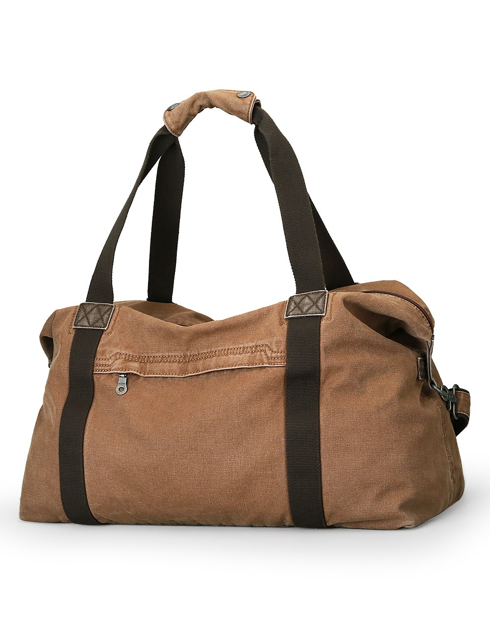 Muzee Oversized Classic Vintage Canvas Travel Duffel Hand Bag Weekender Bag Travel Tote Luggage for men or women (Khaki)