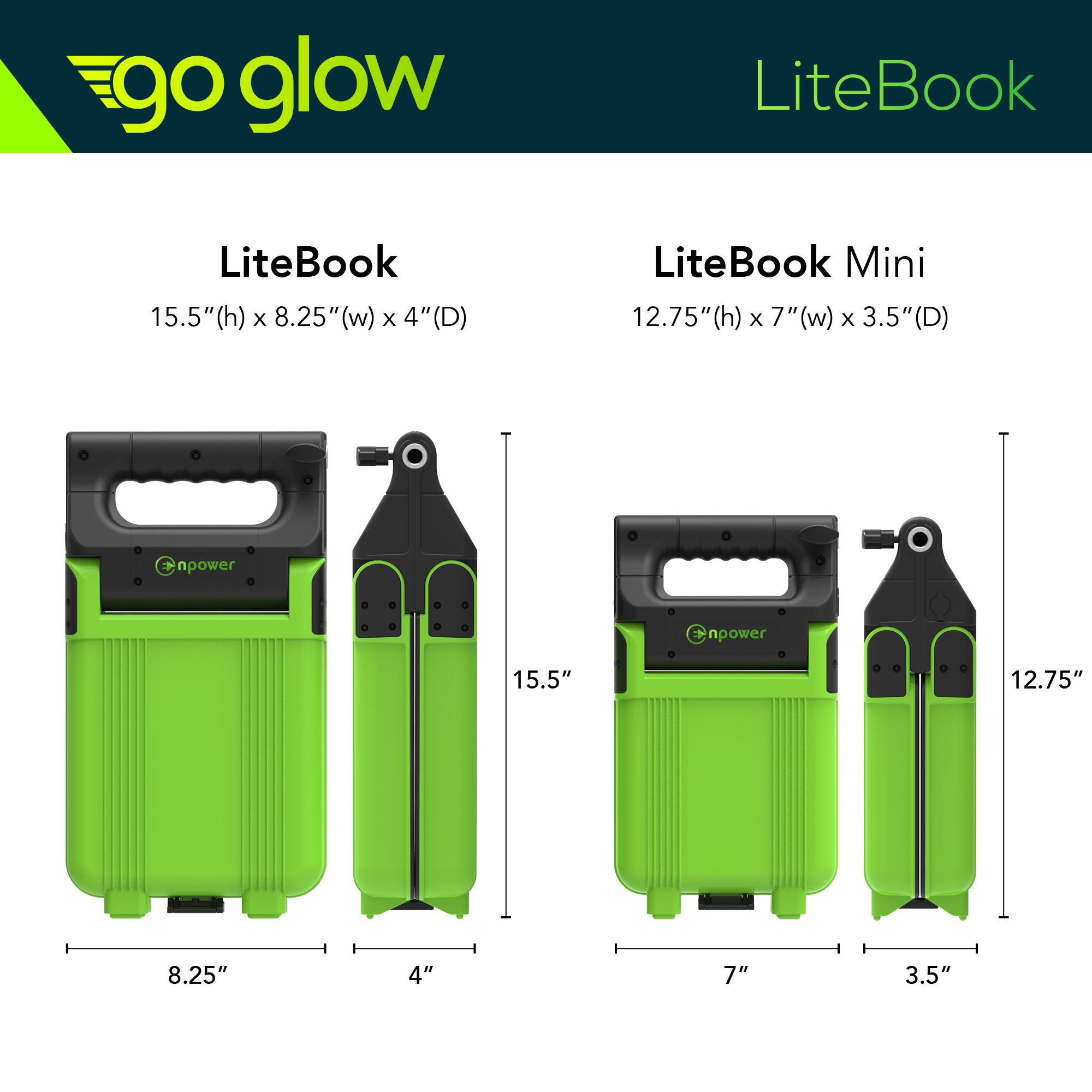 GoGlow LiteBook Bundle - Upgraded 2.0 TRIPOD INCLUDED - 30W Portable Rechargeable Day Light White Light (5000-5500k) Work Light, Camping, Garage or Auto Repair, Emergency (Green) by Enpower (Image #5)