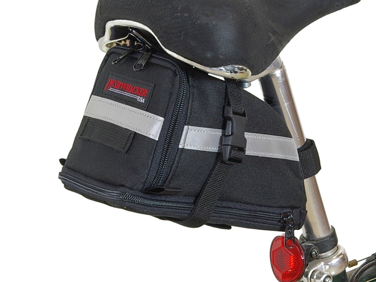 Bushwhacker Tacoma - Bicycle Expandable Seat Bag - w/ Reflective Trim & Light Clip Attachment - Cycling Under Seat Wedge Bike Rear Saddle Pack Frame Front Accessories