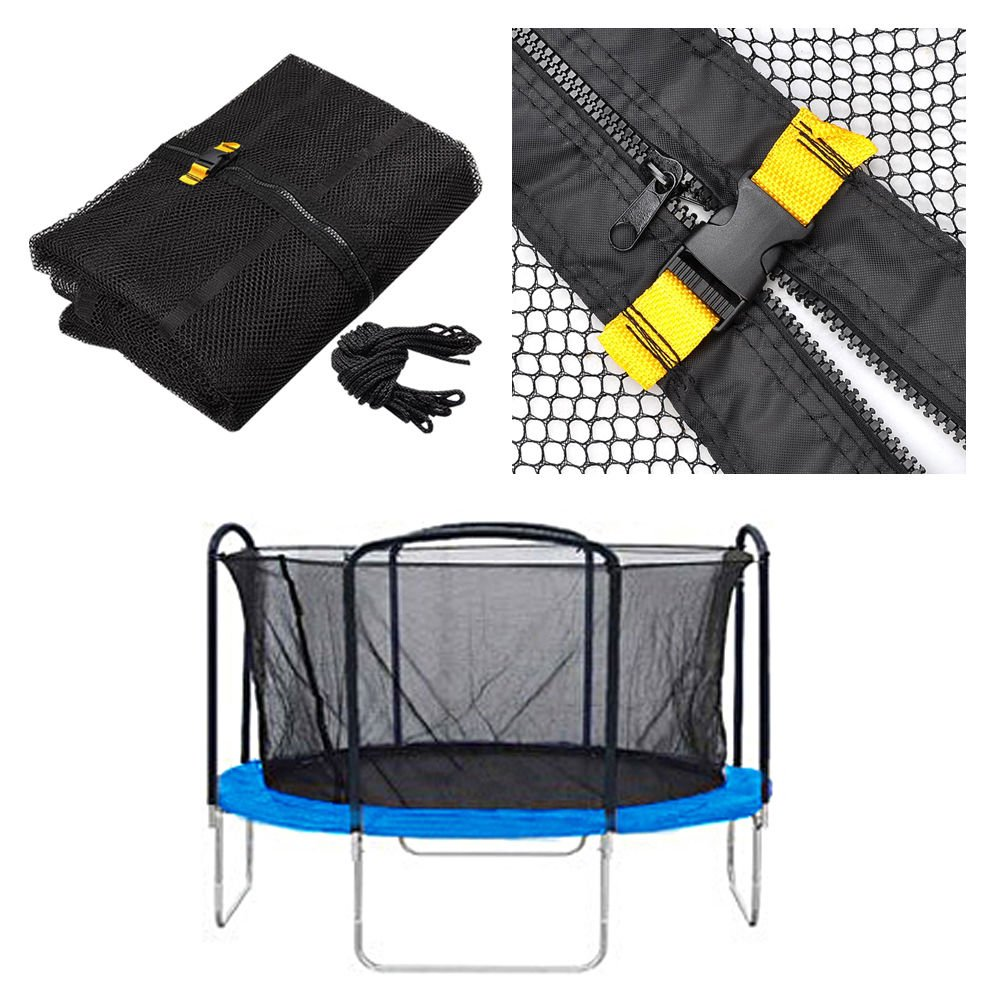 14 Ft Trampoline Enclosure Net Replacement Arched Supports Dual Closure Entry by DTOFREE