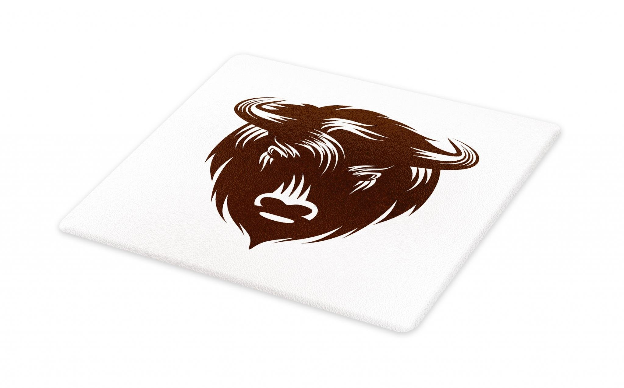 Lunarable Bison Cutting Board, Earth Tones Horned Buffalo Head Wilderness Forest Animal Jungle Illustration, Decorative Tempered Glass Cutting and Serving Board, Large Size, Chocolate White
