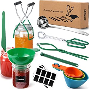 Canning Kit, 35pcs Canning Supplies Starter Kit for Beginner, Home Canning Tool Set for Canning Pot, Stainless Steel Canning Accessories Equipment for Food/Fruit/Pickle by LEONICE - Green