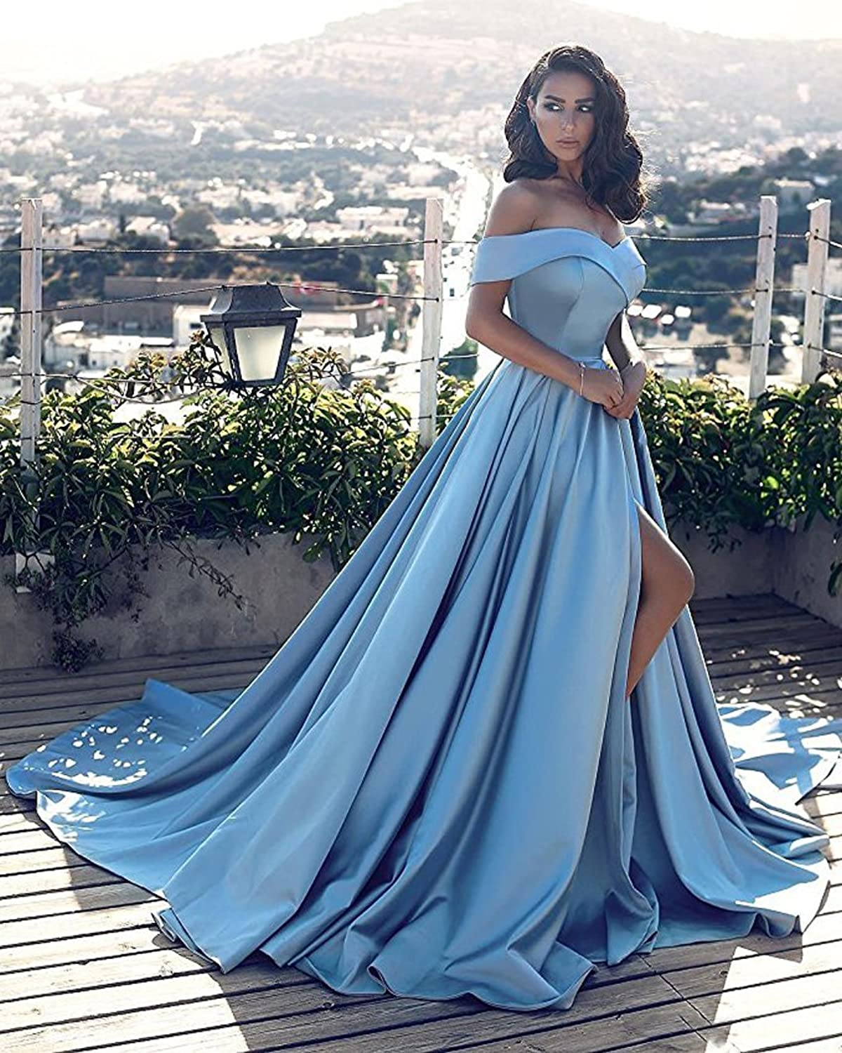 Beilite Vintage Off Shoulder Prom Dress Long A Line Split Party Gown ...