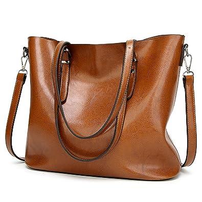 a79c16ec86 YALUXE Women s Soft Leather Work Handbag Shoulder Bag (Upgraded 2.0) Brown