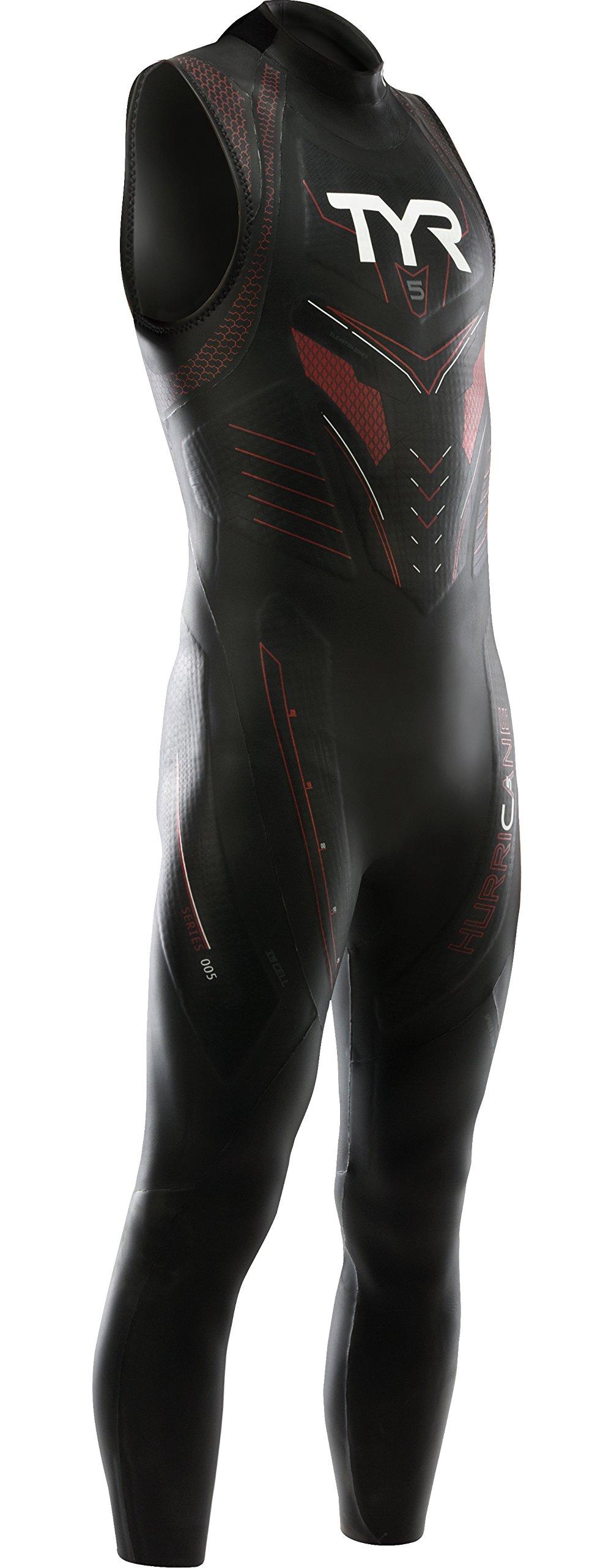 TYR Sport Men's Hurricane Sleeveless Wetsuit Category 5, Black/Red, X-Small