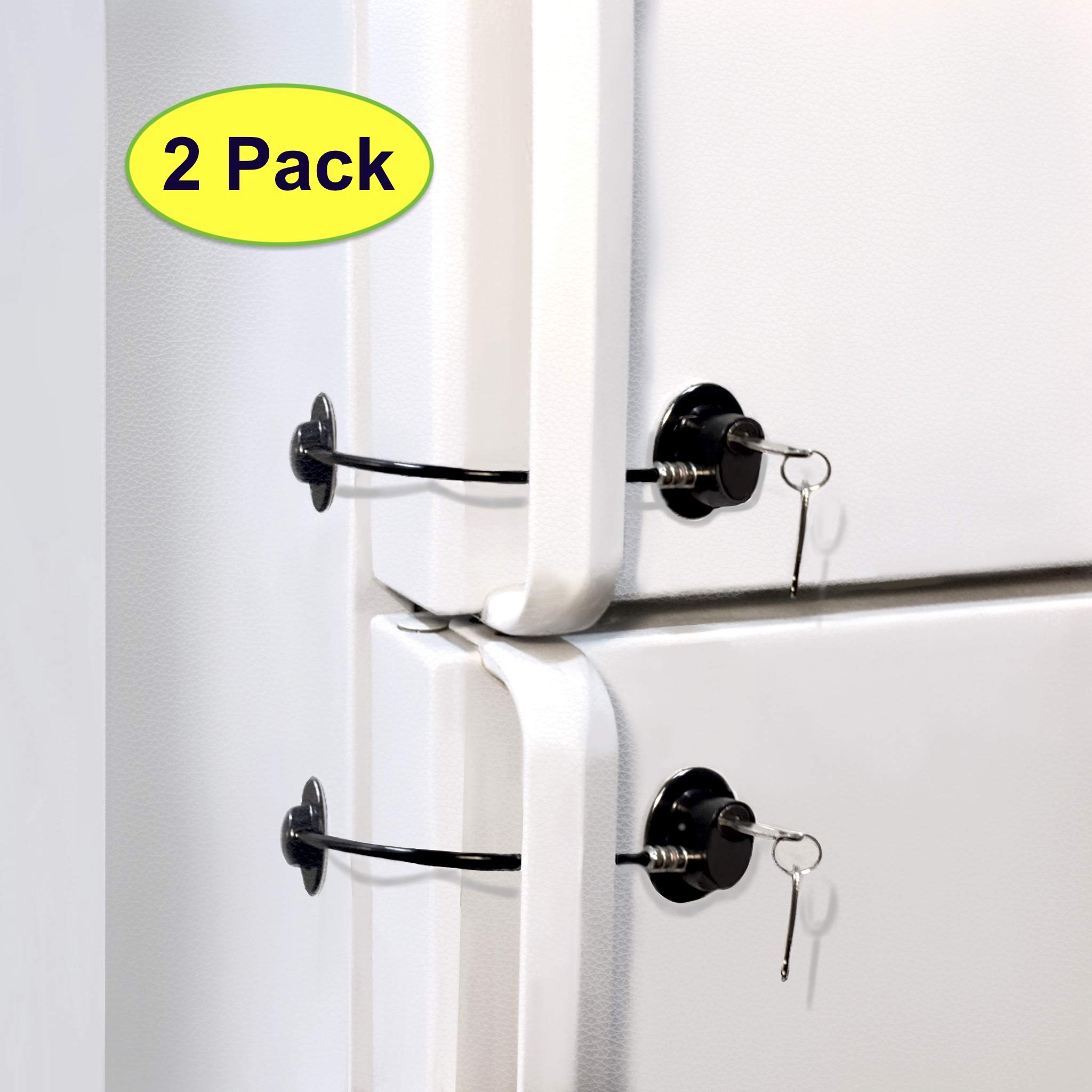 Fridge Lock, Refrigerator Lock, mini fridge lock, File Cabinet Lock, Drawer Lock, Lock for Cabinet, Child Safety lock Refrigerator Door Lock, fridge door lock with key by ToolsGold (2 Pack)