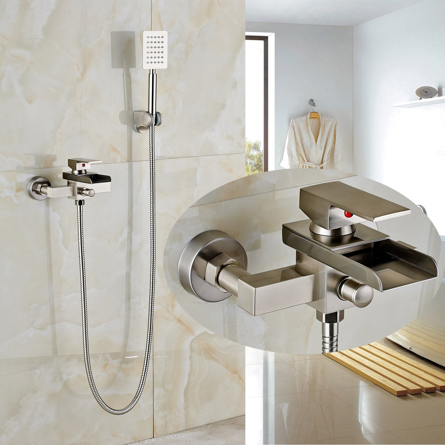 Rozin Wall Mounted Single Handle Bathtub Faucet tap Waterfall Spout with Handheld Shower Set Brushed Nickel