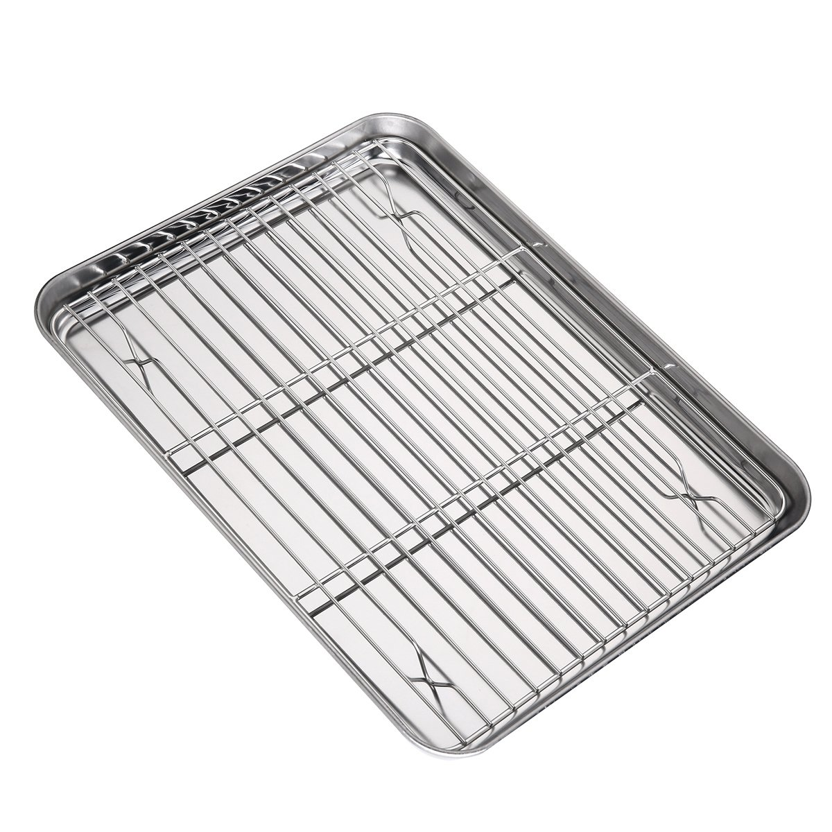 Baking Tray and Rack Set, Stainless Steel Baking Pan Cookie Sheet with Cooling Rack, Size 12 3/8 x 9 1/2 x 1 inch