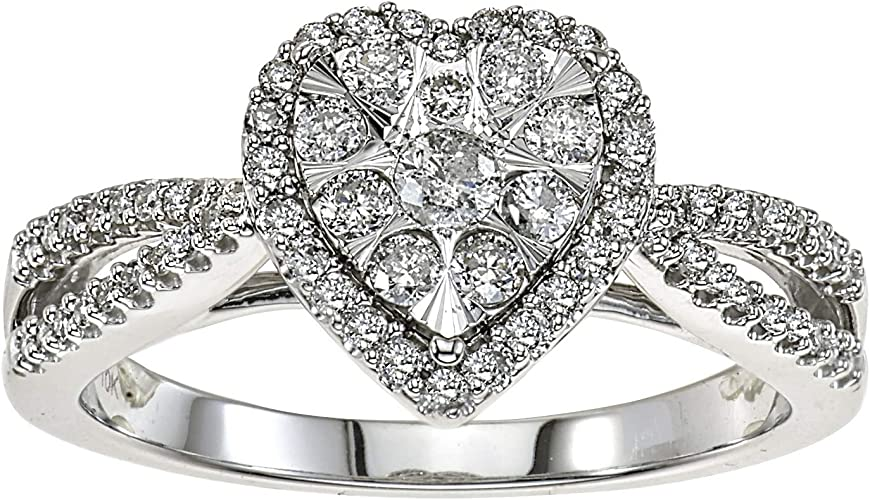 VOROCO Classical 925 Silver Two Tone Heart Rings Band With High Polish 3 Size
