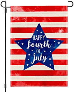 PANDICORN Patriotic Happy 4th of July Garden Flag 12x18 Inch Double Sided, Watercolor American US Flag Blue Stars and Red Stripes, Small Vertical Memorial Independence Day Garden Flag Outdoor Yard Decor