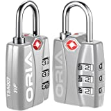ORIA TSA Approved Luggage Lock, Travel Lock, 3 Digit Combination Lock, Padlock with Alert for Suitcases, Baggage, Backpacks, Small Cabinets, Computer Bags (Silver, 2 Pack)